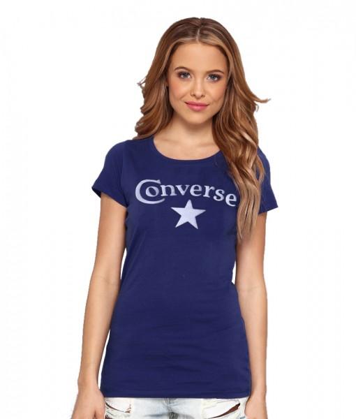 Converse T-shirt Sabina Bleu Femme 01