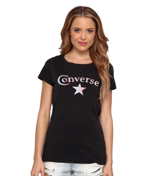 Converse T-shirt Sabina Noir Femme 01