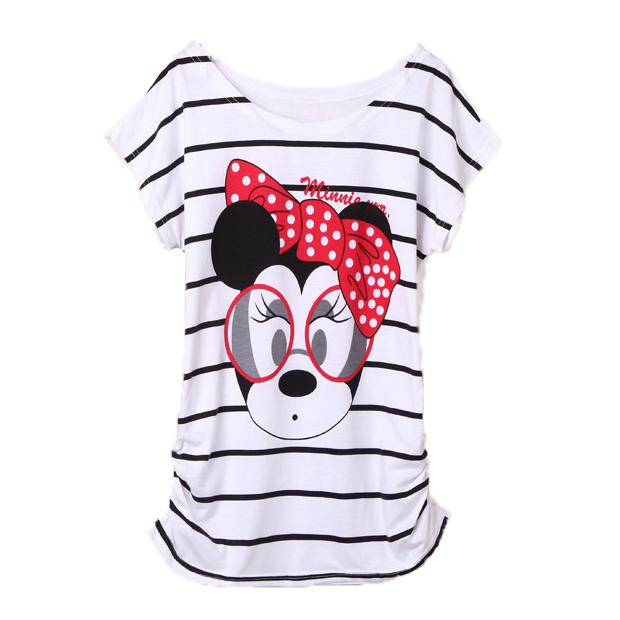 T-shirt Femme Minnie Mouse Black Stripes