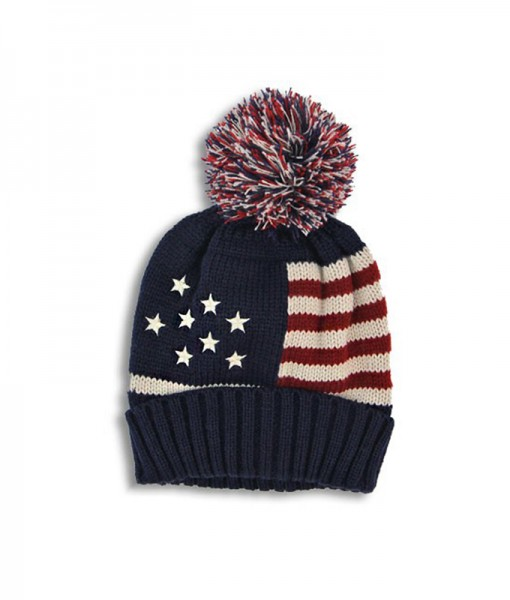 Bonnet Stars and Stripes Beanie Hat Vintage Navy A02