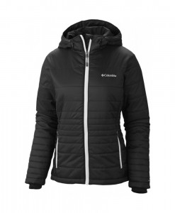 Columbia Go To Hooded Jacket Black White Femme
