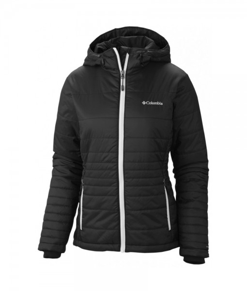 Columbia Go To Hooded Jacket Black White Femme C03