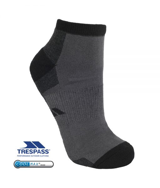Trespass Inclined Mens Trainer Socks Black
