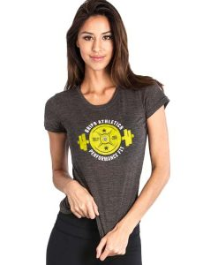 Grips Athletics Ladies T-Shirt Weight Grey Yellow